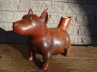 Original Colima pre Columbian effigy pottery hollow dog vessel with red glaze