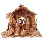 13 Pc Top Grade Olive Wood Nativity Set with Guardian Angel Large