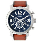 New FOSSIL 'Gage' Mens Chronograph Watch, Blue Dial, Brown Leather Band, Date