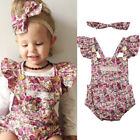 Newborn Kid Baby Girls Floral Lace Clothes Romper Bodysuit +Headband Outfits Set