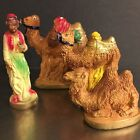 Vintage Nativity Creche Figures 3 Camels Camel Driver Plaster Hand Painted Italy