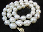 18 INCH  HUGE SOUTH SEA 10-13MM WHITE BAROQUE PEARL NECKLCE 14K GOLD CLASP