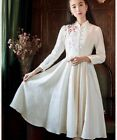 Vintage Chinese Style Women Retro Dress Floral Embroidery Elegant Long Sleeves