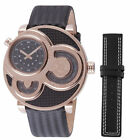 GV2 by Gevril Men's 8303 Macchina Del Tempo Rose-Gold IP Black Leather Watch