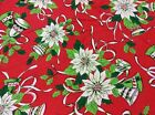 Vintage Christmas Round Tablecloth Vivid Colors White Fringe Border 70 Across