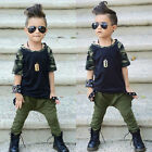 Toddler Kid Baby Boy Fashion Clothes Camo Top T Shirt Tee Harem Pants Outfit Set