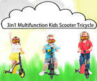 3in1 Multi-function Kids Scooter Tricycle Bicycle 1-5 Years Old Yellow Blue Red