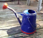 LFY- Vintage Blue Watering Can with Red spout, 1 gallon, Ln604, 2 Handles, spray