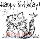 Deep Red Stamps Birthday Cat Rubber Cling Stamp
