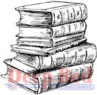 Deep Red Stamps Library Books Rubber Cling Stamp