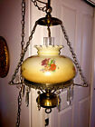 Vtg GWTW Hurricane Parlor Hanging Lamp Floral Shade Swag Chandelier NICE