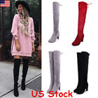 Women Ladies Suede Over The Knee Boots Shoes Block High Heel Lace Thigh Boots US
