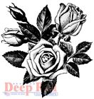 Deep Red Stamps Rose Blooms Rubber Cling Stamp