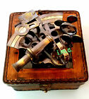 Marine Collectible Nautical Brass Working German Maritime Sextant w/ Leather Box