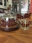 Vintage Chip  Dip Bowl Cheese Board  Glass Dome Goodwood