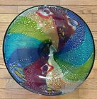 New Beautiful Large Centerpeice Bowl MultiColored Art Glass Heavy Weight