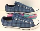 Mens Converse All Star Size 95 Blue White Plaid Slip on Sneakers Shoes G015