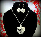 STERLING SILVER PLATED HEART NECKLACE  EARRINGS SET VALENTINES DAY GIFT FOR HER