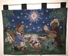 Boyds Bears  Friends Christmas Nativity Wall Hanging Tapestry Jesus Savior Lord