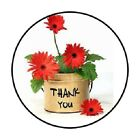 48 Thank You Flower Pot ENVELOPE SEALS LABELS STICKERS 12 ROUND