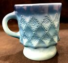 Anchor Hocking Fire King Kimberly Blue Cup Mug Diamond Pattern MCM