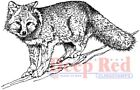 Deep Red Stamps Winter Fox Rubber Cling Stamp