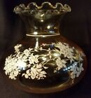 Vintage Amber with White Flowers Hurricane Student Oil Lamp Shade Ruffled Top