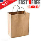 25 50 Count Reusable Green Shopping Gift Bags Brown Kraft Paper Handles 10x5x13