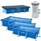 INTEX Schwimmbecken Komplett Set Family Swimming Pool Rechteck Frame + Poolpumpe