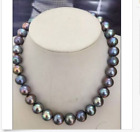 gorgeous 13-15mm south sea round black red   pearl necklae 18inch 14k