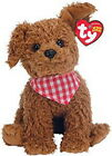 NWT TY Beanie Baby ROWDY the Brown Curly Dog with Scarf (5.5 inch)