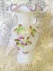 Fenton Glass VASE Opal Rib Optic Violet Crest Last one