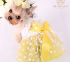 Lace Bow Dog Dress Clothing For Dogs Teddy Chihuahua Pet Dog Clothes Yellow XL