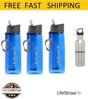 Lifestraw Go 3 Pack Water Filter with Steel Bottle Free, Blue,Free Shippping