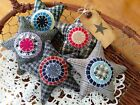 Five Handcrafted Primitive Star Penny Rug Ornie's Bowl Filler's Tuck's
