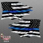Thin Blue Line Tattered Flag Sticker - Police Usa Vinyl Decal Car Truck Window