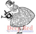 Deep Red Stamps Gardening Girl Rubber Cling Stamp