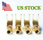 4pcs Gold Plated Spade Banana Fork Plug For Mcintosh Fisher Eico Adapter US