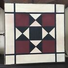 Hand painted Primitive Barn Star Quilt Wood Sign FarmHouse red black white