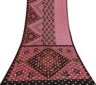 Vintage Indian Saree Pure Silk Woven Used Pink Craft Fabric Ethnic Sari 5Yd.