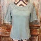 Talbots Womens Baby Blue Mesh Floral Open Lace Short Sleeve Top Size Medium