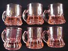 6 Pink Depression Mug Shot Glasses, 1 7/8