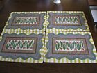 4 MacKenzie Childs Garden Awning Cork Backed Place Mats IOB EXCELLENT