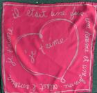 """Vintage Silk Scarf Pocket Square Hand Rolled Red French Heart Je T'aime 17x17"""""""