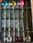 12 Glass Spring Rose Flower with Green Leave 6 roses included choose combo