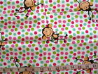 1 yd Flannel Fabric White with Brown Monkeys Dots in Pink Red Green Aqua