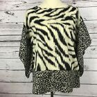 Michael Kors Womens Blouse Size S M Top Animal Print Flutter Sleeves