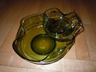 Vintage Clear Green Glass Chip and Dip Bowl Set.  Accent Modern.  Retro1960's