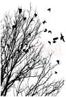 Deep Red Stamps Raven Flock Rubber Cling Stamp