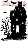 Deep Red Stamps Haunted House Rubber Cling Stamp